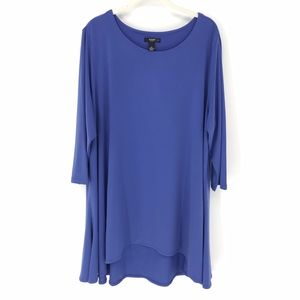 Alfani Blue High Low Tunic Jersey Blouse